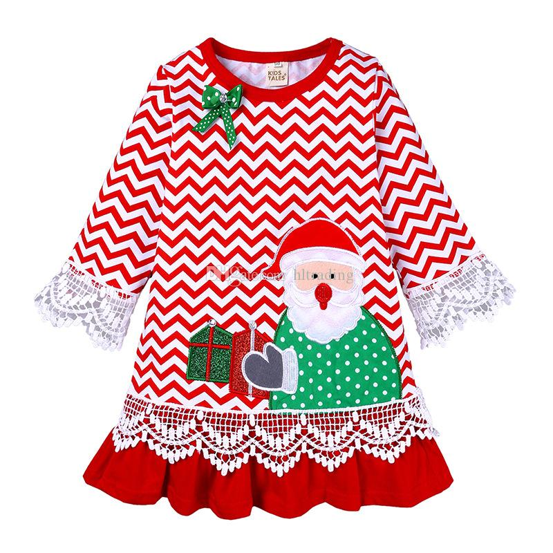 Toddler Long Sleeved Christmas Dresses 2020 2020 Baby Girls Christmas Santa Claus Dress Cartoon Embroidered