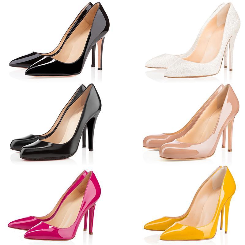 Toptan lüks tasarımcı kadın ayakkabı tabanı 2019 yüksek topuklu 8 ile 10 cm 12cm Nü siyah, kırmızı deri Sivri Toes kırmızı elbise moda ayakkabılar pompaları