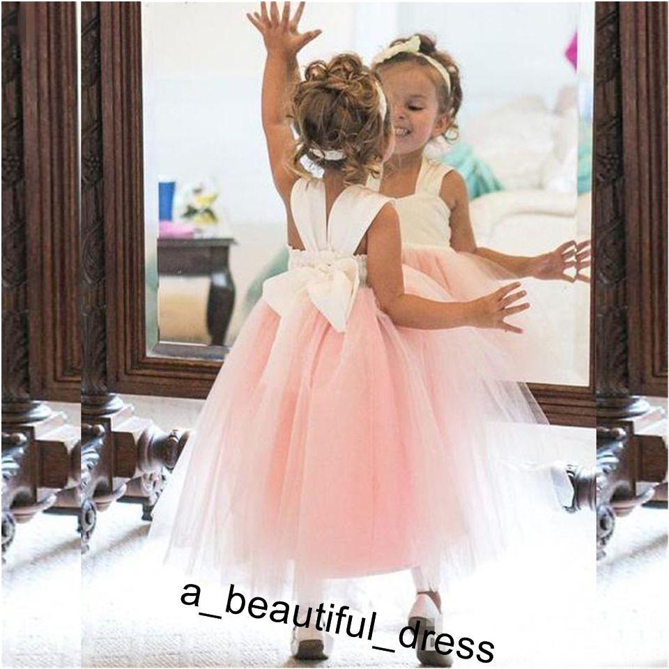 Cute Flower Girl Dresses Princess Ivory White Light Pink Puffy Tulle Formal Gowns for Weddings Ankle Length Girls Wear FG1254
