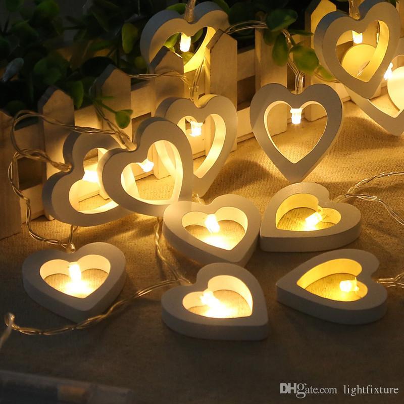 LED Ahşap Kalp Dizeleri Noel Ağacı Festivali Parti Dekor Pencere Perde Işık Açık Bahçe Dekorasyon Işık Dize