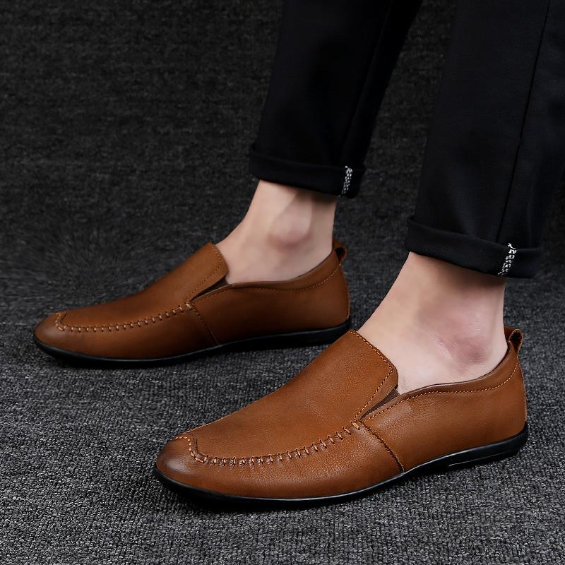 أحذية الرجال عارضة الأحمر اليدوية حقيقية جلد متعطل الربيع الانزلاق على أحذية شقق البشر حداء بدون كعب الرجال تنفس لينة لتعليم قيادة السيارات