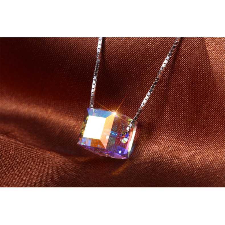 Имитация кристалл ювелирные изделия ожерелья девушки женские подвески 925 серебряная звезда морская звезда куб шар lucency ослепительный блеск колье 1шт