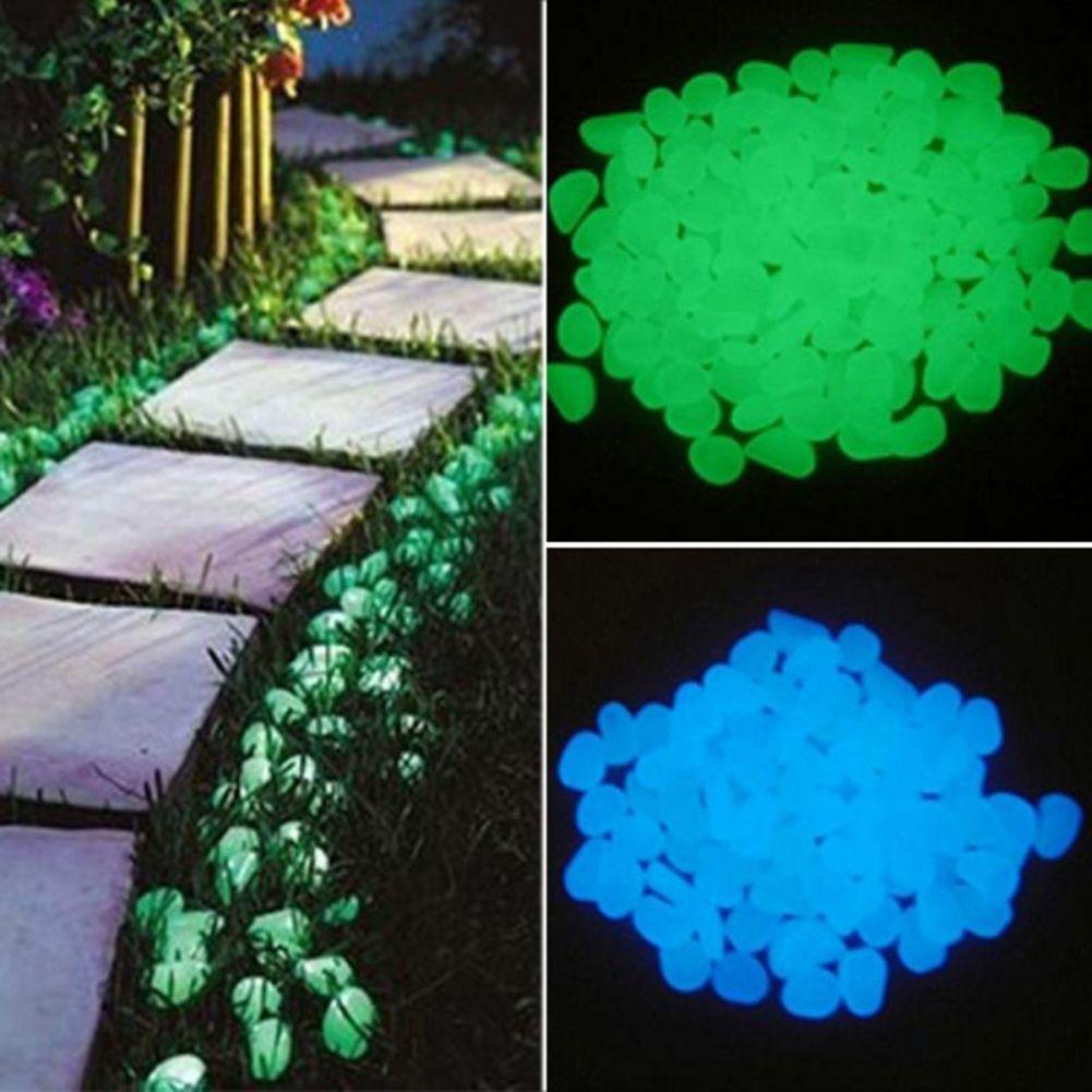 100pcs / bag brillan en la oscuridad del jardín de piedras Glow Piedras Rocas para el jardín Pasarelas Luminoso Piedras Peces acuarios Decoración