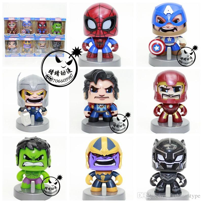 Marvel Avengers Iron Man Spider-Man Kids Action Figure Toys Raytheon Hulk Captain America Changed face turned doll Car model toy Gift