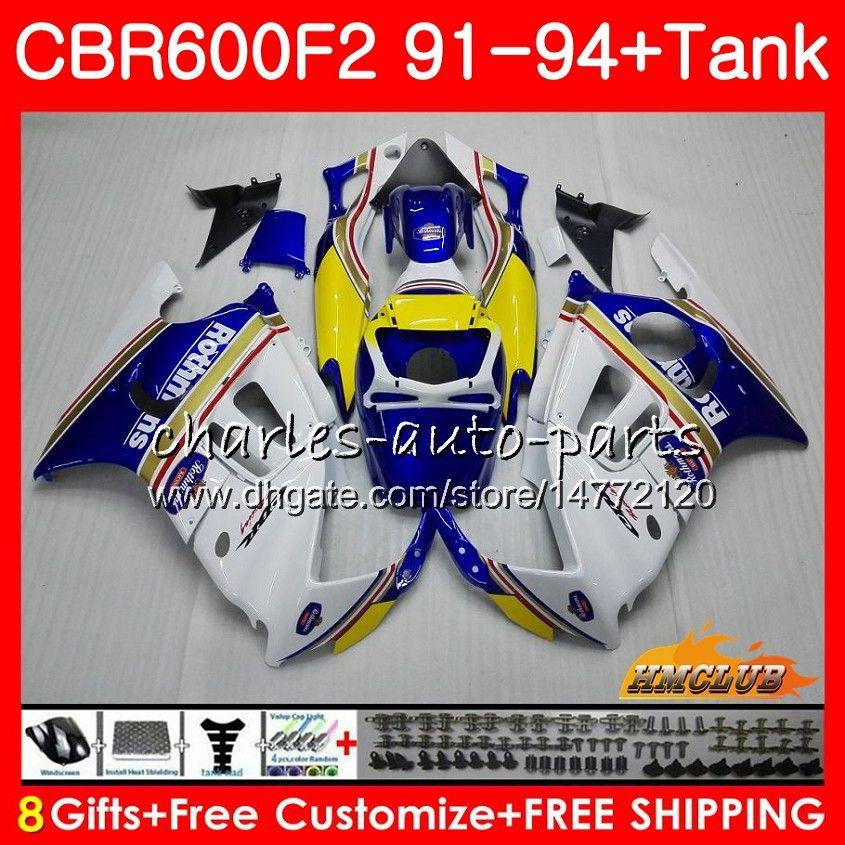 Cuerpo + tanque para HONDA CBR 600F2 Rothmans Azul CBR600FS CBR 600 F2 FS 91 92 93 94 40HC125 600cc CBR600 F2 CBR600F2 carenado 1991 1992 1993 1994