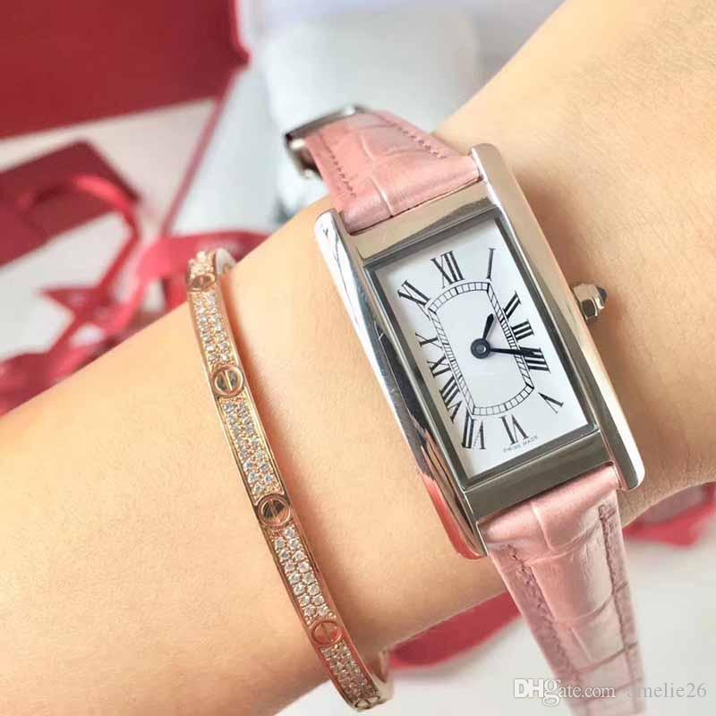 Reloj de moda para mujer reloj de cuarzo de cuero Relojes de diseñador de lujo para mujer Acero inoxidable Hermoso reloj bonito regalo para mujer
