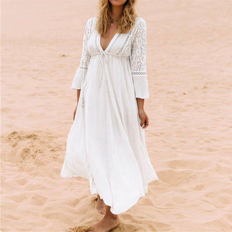 Nodelay Women Lace Crochet Bikini Cover Up Long Beachwear Pareo Beach Tunic Dress White Sexy Robe Cotton Bathing Suit Kaftan Y19060301