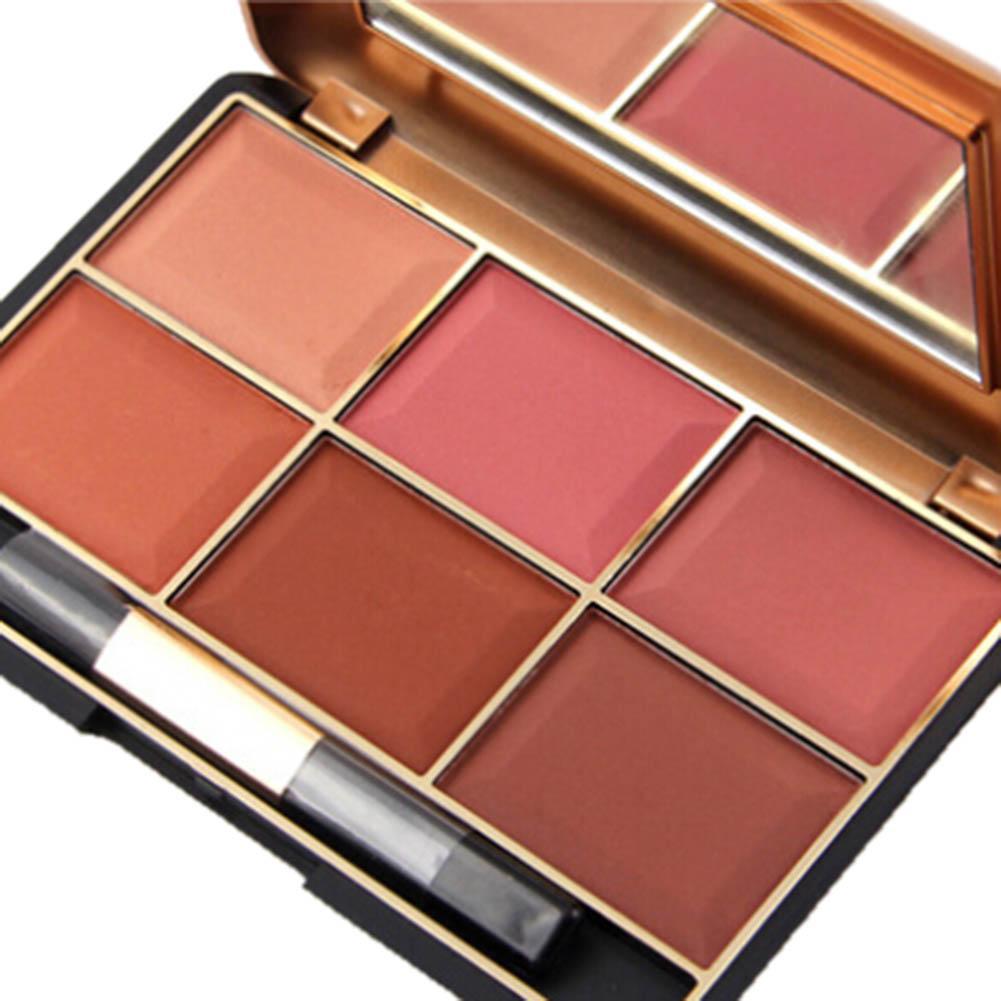 Miss Rose Maquillaje Profesional colorete Larga Duración 6 Base Color de la cara Minerales retro Rubor Contorno Maquillaje Paleta