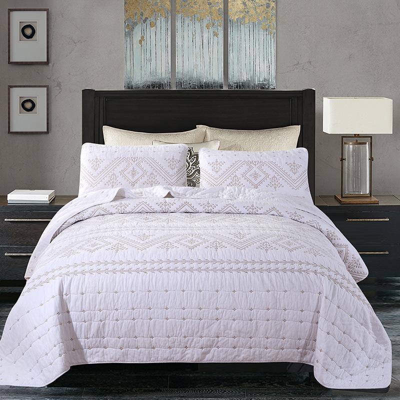 Bedspreadcover Set bedcover letto in cotone coprimaterasso Quilt trapuntate copriletti bianchi Luxury beige BeddingSetsKingSize lenzuola federa