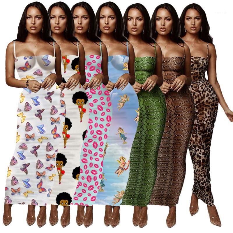 Été Femmes Designer Robes moulante Slim Skinny Spaghetti Strap Enveloppé poitrine été Lond robe florale léopard