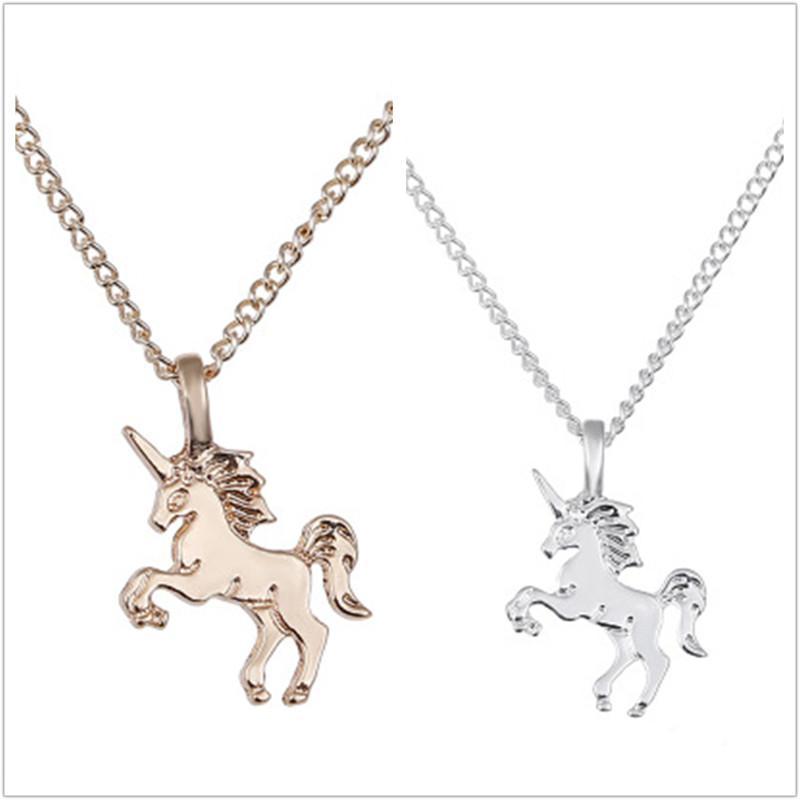 Köpüklü İyi Şanslı Unicorn gerdanlık kolye kolye altın kaplama Clavicle Zincirler Bildirimi Kolye Kadınlar Takı Noel Hediyesi