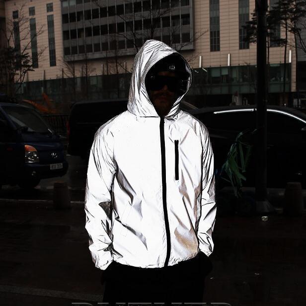 dos homens e mulheres Jacket 3M Jacket reflexivo 2019 New Noite brilhante Homens e Mulheres Bomber Jacket blusão com capuz Streetwear Y200101
