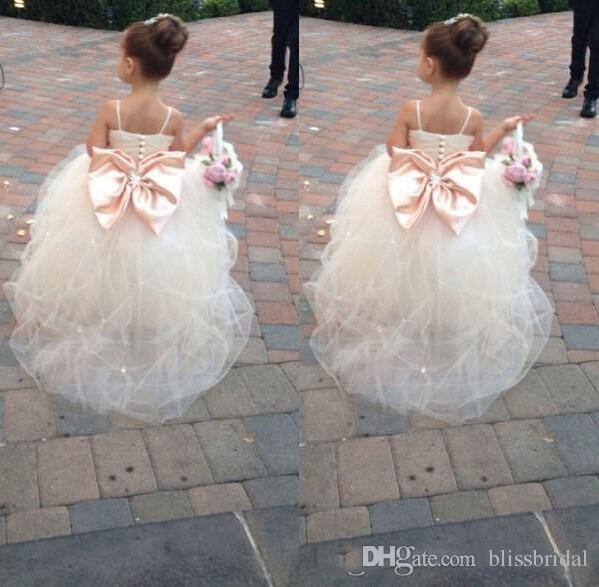Spaghetti mangas flor menina vestidos frisado arco faixa tule branco crianças vestidos de baile meninas de flor vestido de casamento meninas vestido de festa formal