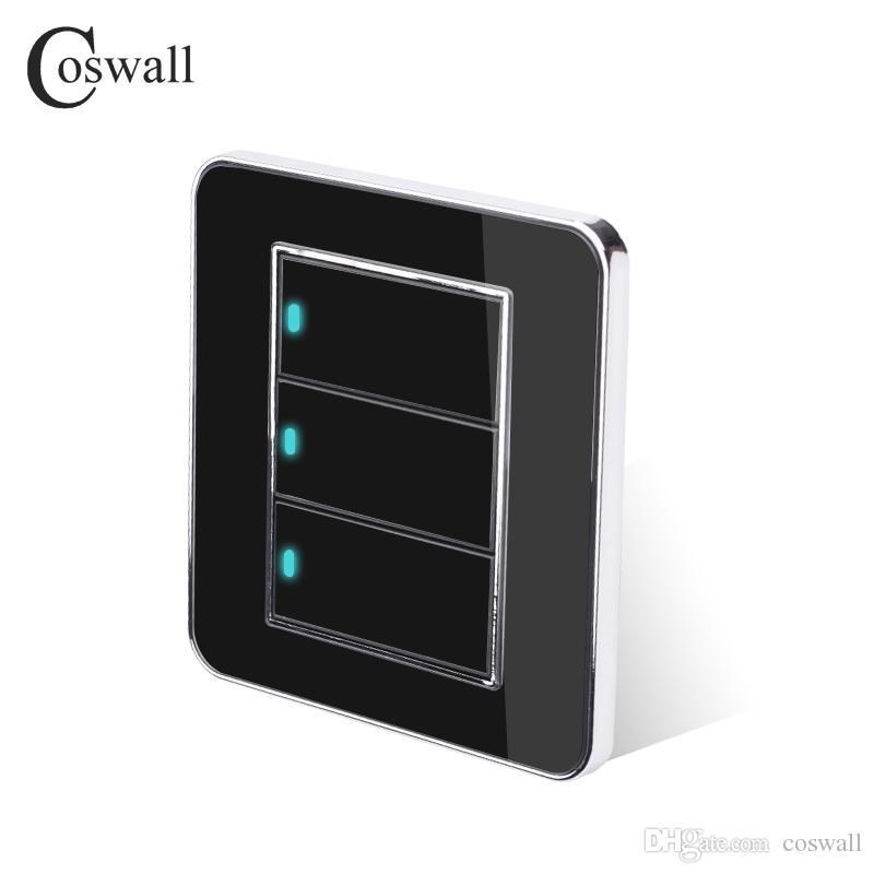 Duvar Işık Anahtarı Coswall Marka 3 Gang 2 Yollu Rastgele Tıklayın LED Göstergesi Ile Akrilik Kristal Paneli Siyah Ayna