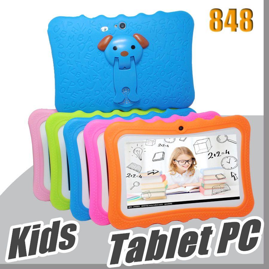 """848 DHL Enfants Marque Tablet PC 7"""" enfants Quad Core tablette Android 4.4 lecteur Allwinner A33 google wifi grand capot de protection du haut-parleur L-7PB"""