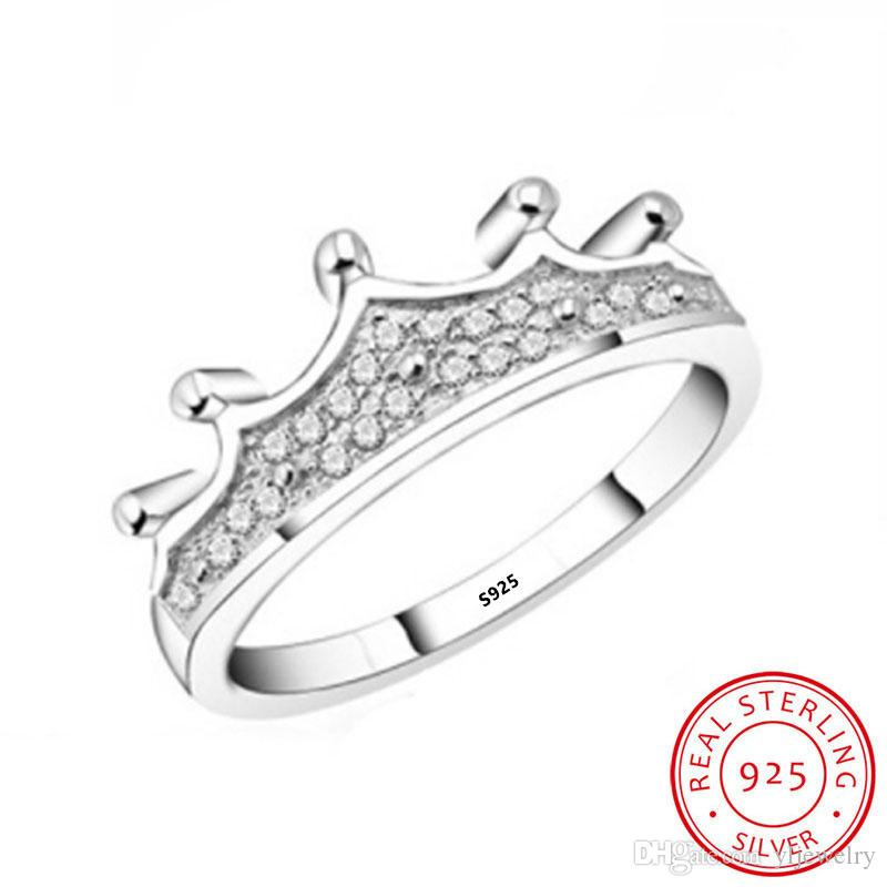 Real 100% 925 Sterling Silver Ring Ladies Personality Design CZ Diamond Crystal Crown Ring Jewelry Party Gifts Fashion Accessories XR014