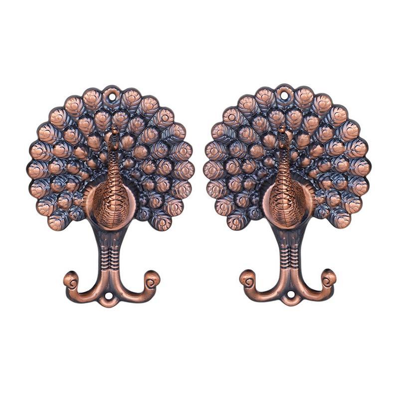 1 Coppia di Vintage Peacock-modello tendaggi / tende Holdbacks Tie Indietro Ganci --- colore antico di rame