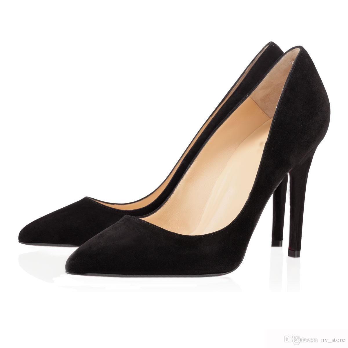 Top Designer Mulheres Salto Red Bottoms Bombas Salto Alto preta nu dedos apontados Rodada parte inferior vermelha Dress Shoes casamento 35-42