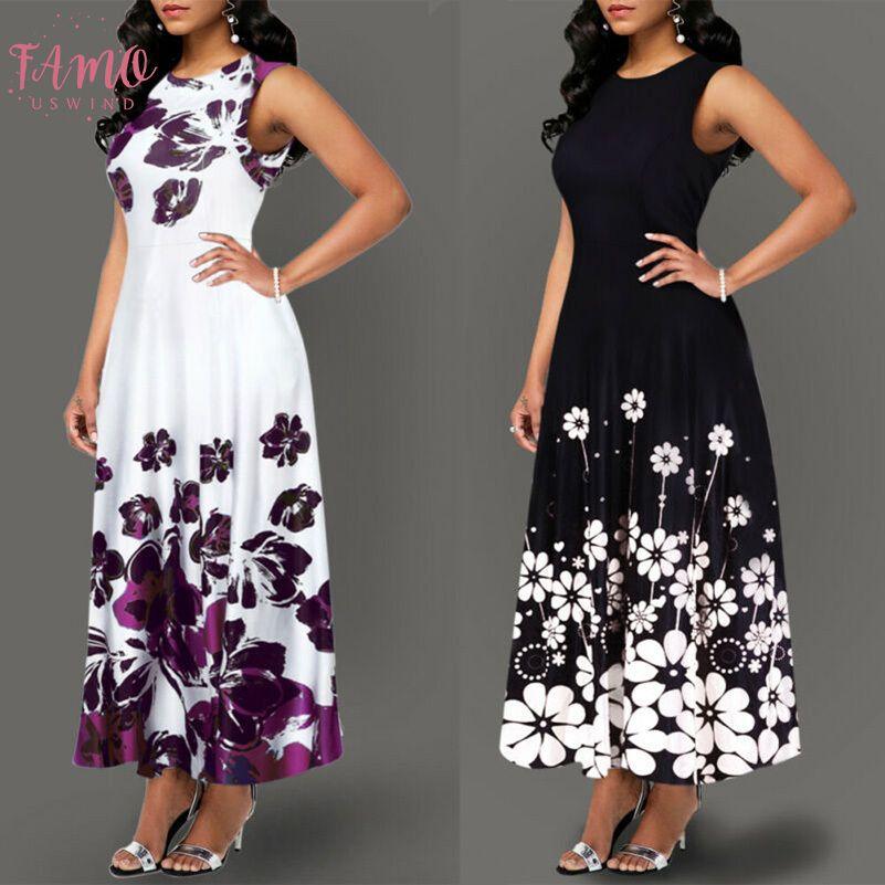 Large Maxi Dresses Size Elegant Womens Floral Print Long Maxi Dress Evening Party Beach Dress Summer Long Flower Sundress Costume