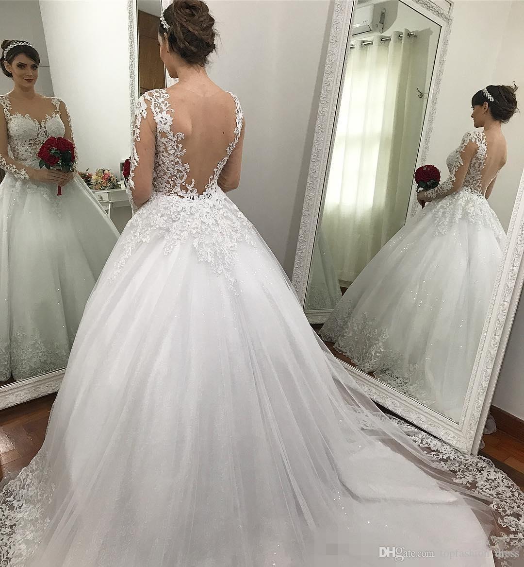 Длинные рукава бальное платье свадебные платья 2020 блестки кружева аппликация Иллюзия лиф Часовня Поезд выполненные на заказ Свадебные платья Платье-де-Novia
