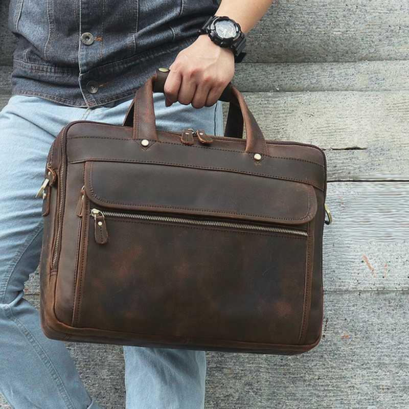 Vintage Genuine Leather 15.6'' Laptop Bag Crazy Horse Leather Briefcase For Mens Business Travel Messenger Bags