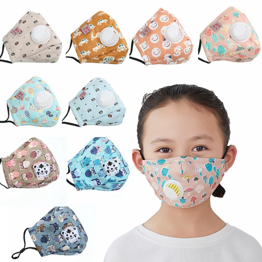 Cara de máscara con válvula de estilo infantil TRANTOUP Dibujos animados de impresión anti-polvo Máscaras protectoras para niños 9 Máscara Niños Respiración HAGA1410 UWWKD