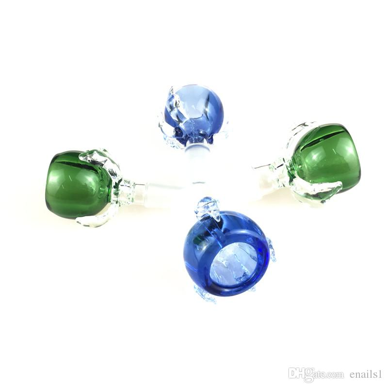 Beliebte Großhandel neuen 14mm / 18mm Dragon Claw Glasschüsseln mit Blau / Grün Male Glasköpfe für Wasserrohre Bohrinseln Glasbongs ss