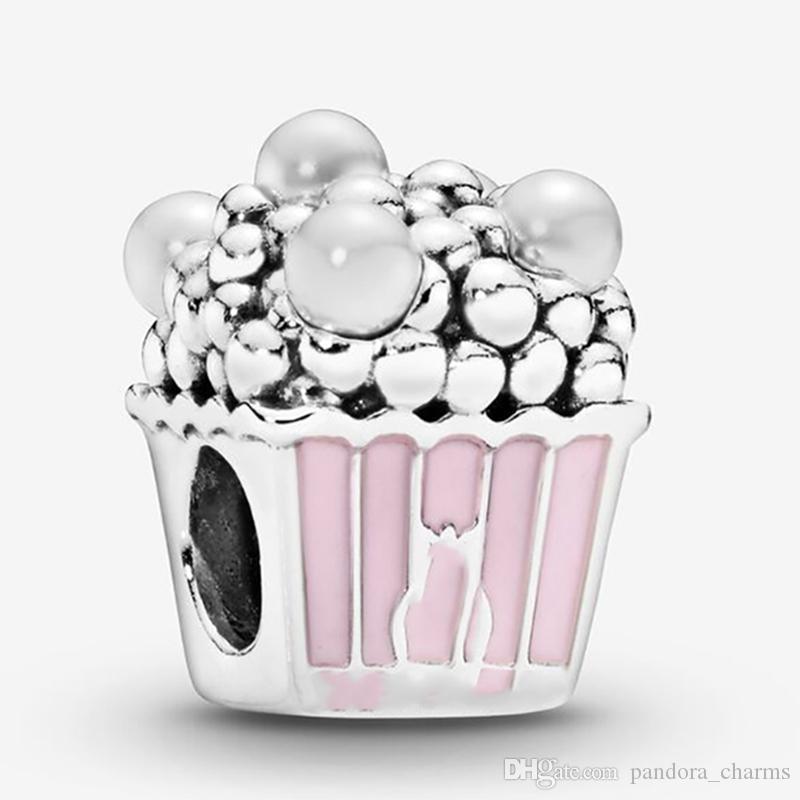Подходит Pandora Аутентичные Браслет Шарм Розовый попкорн стерлингового серебра 925 Подвеска Подвески Бусины европейские Подвески DIY ювелирных изделий типа