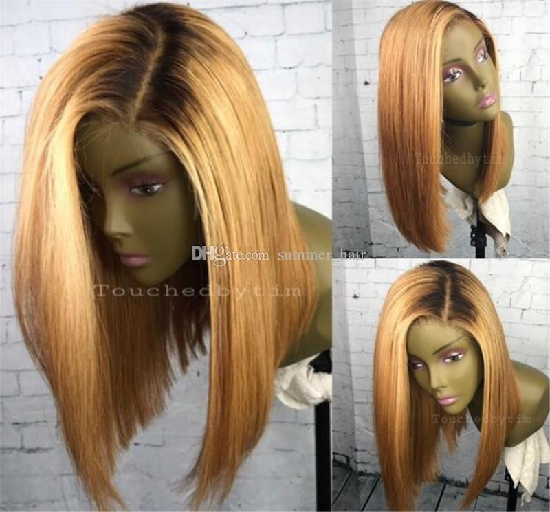 Ombre 1b-27 Lace Front Human Hair Wigs With Baby Hair Brazilian Remy Hair Bob Wigs Pre-Plucked Hairline Middle Part
