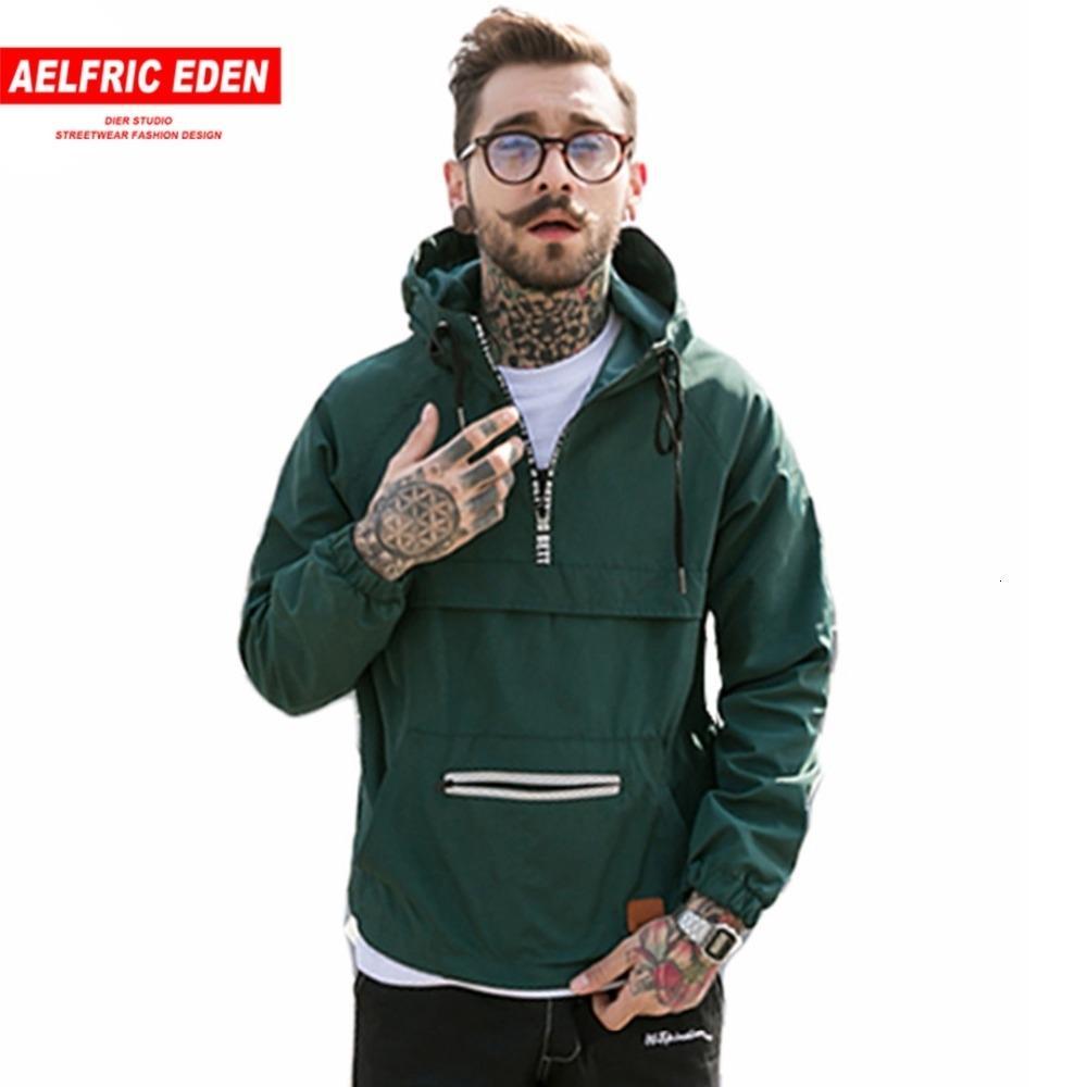 Aelfric Eden modo degli uomini incappucciati giacche a vento con cappuccio Streetwear Hip Hop Primavera Casual Jacket attivo cappotto YE12MX191011 sottile Outwear