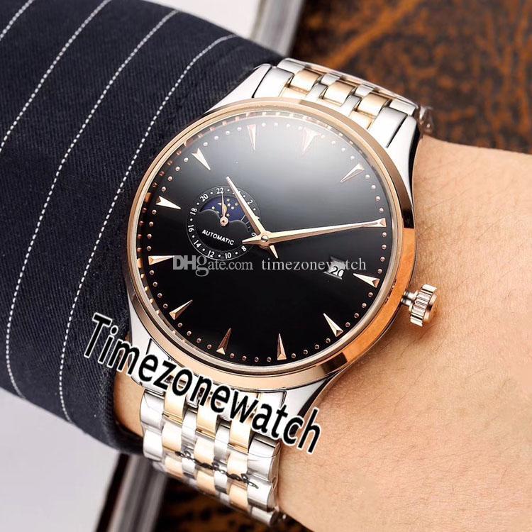 Ultra İnce Moon Phase Miyota 8217 Otomatik Erkek İzle İki Ton Rose Gold Siyah Paslanmaz Çelik Bilezik Timezonewatch E64d4 Dial Usta