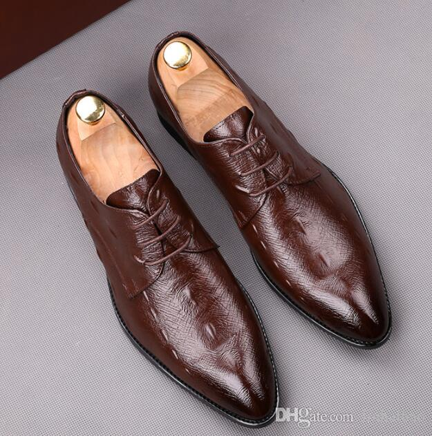 Genuine cow leather Wedding shoes mens casual flats shoes vintage handmade oxford shoes for men spring Size: EU39-44