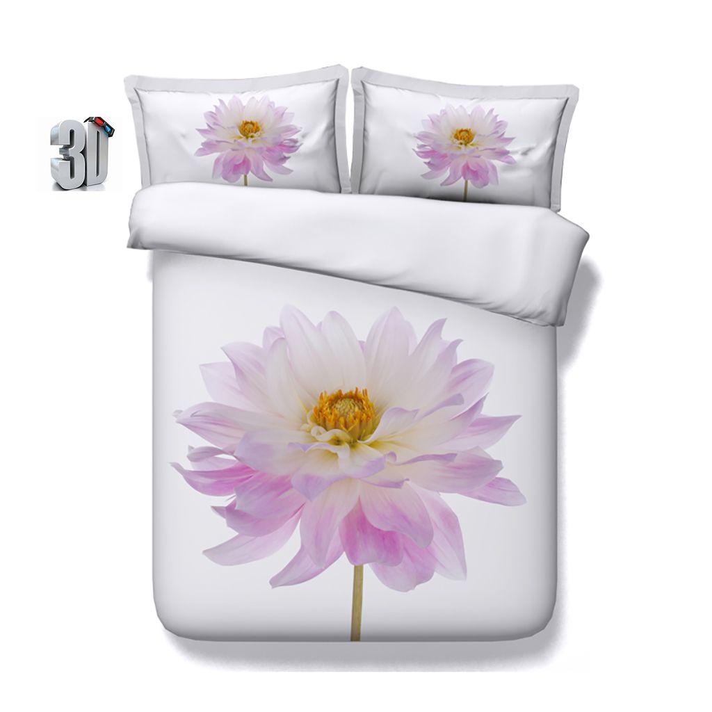 150x200CM 3PCS 3D Ink Flower Floral Print Duvet Cover Set Bedding with pillowcase, Microfiber Comforter Cover, Zipper Closure, NO Quilt