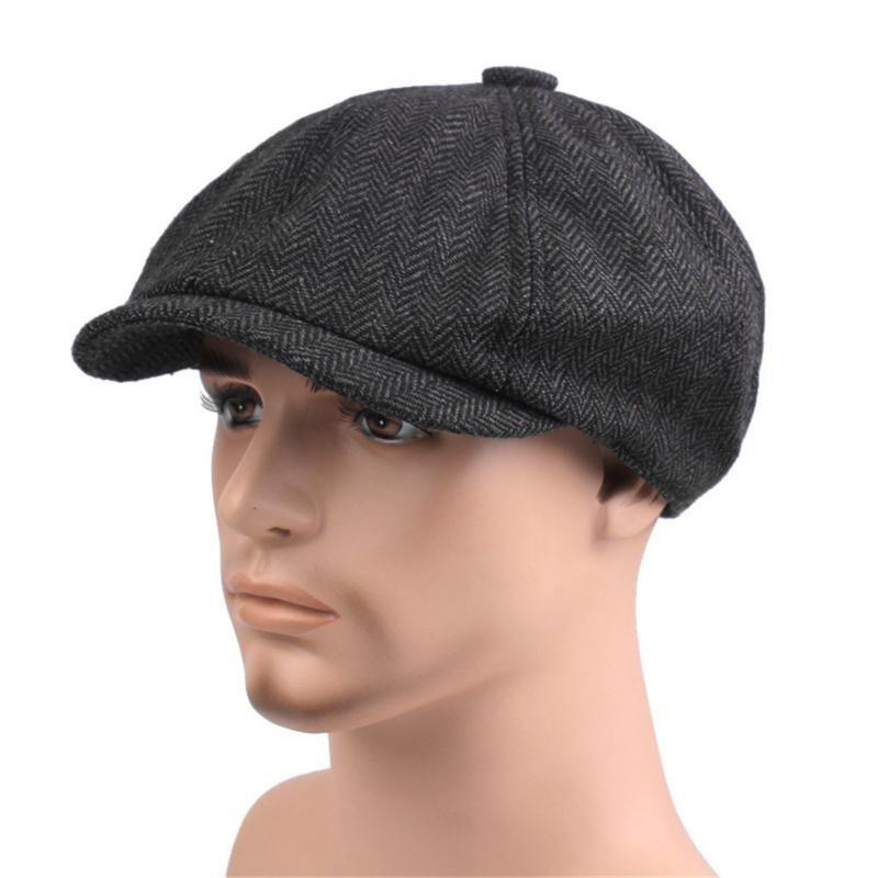 Unisex Tweed herringbone Gatsby Cap Men Woolen Vintage Beret Hat Black Mens Ladies Flat Panel Baker Boy Newsboy Winter Retro #YY