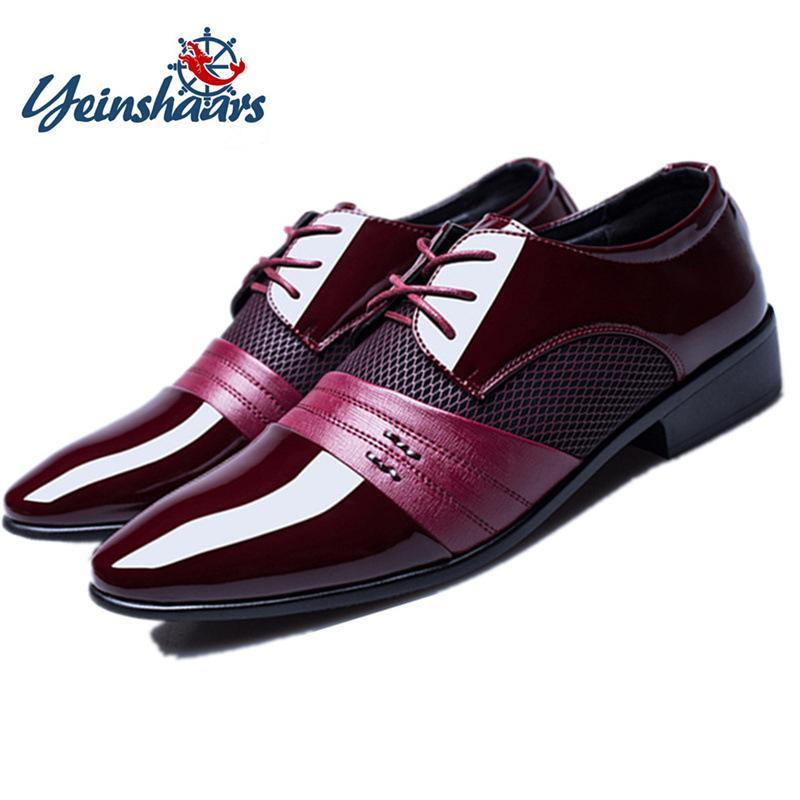 YEINSHAARS hombres zapatos formales vestido de cuero de los zapatos de los hombres de negocios Oxford manera de los hombres zapatos de novia de punta tamaño grande 38-48