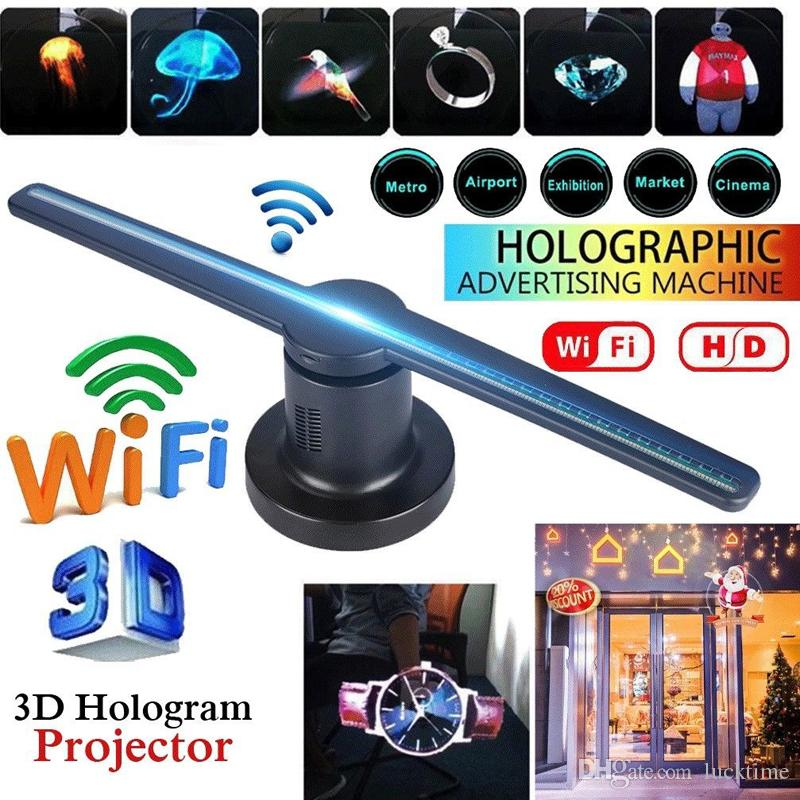 384 LEDs 3D Hologram Advertising Display WIFI LED Fan 1080 3D Photos Videos 3D LED Fan Projector for Store Shop Bar Holiday Events