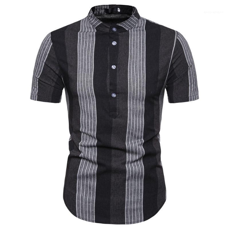 Casual Polos Çizgili İş Kısaca tişörtleri İnce Kısa Kollu Yaka Boyun Erkek Yaz Tees Yaz Erkek Patchwork