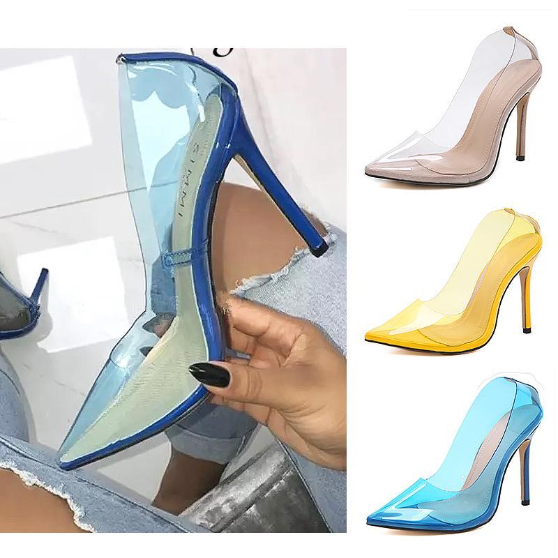 design sexy transparent pompes PVC dames chaussures bleu simple bout pointu nu jaune été de talons hauts robe de banquet taille 35-40