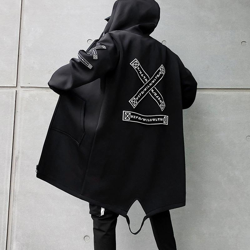 Hip-hop coat men street clothing coat long casual men 2019 fashion men's windbreaker black white