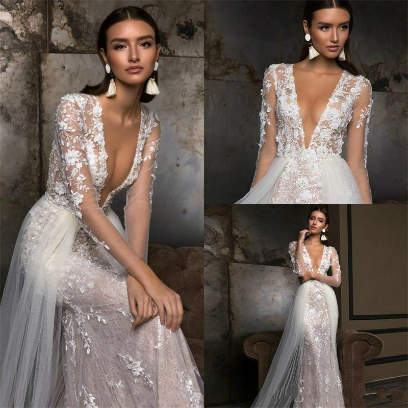 2020 Berta Mermaid Wedding Dresses Long Sleeves Deep V Neck Full 3D Floral Lace Appliqued Overskirts Bridal Gowns