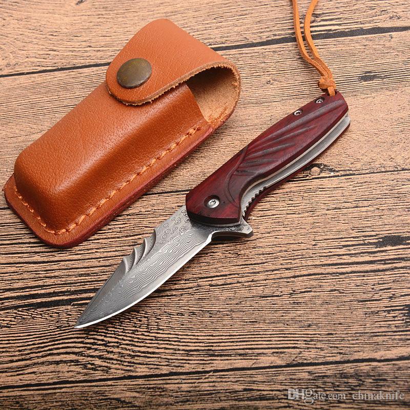 Promoción de Damasco de bolsillo pequeño Flipper cuchillo plegable VG10 Damasco de madera de acero de la lámina de la manija cuchillos de regalo con la envoltura de cuero