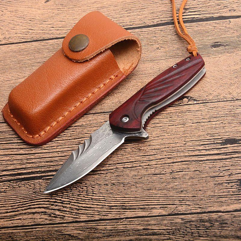 Promozione Damasco piccola tasca Flipper coltello pieghevole VG10 Damasco Steel Blade manico in legno regalo coltelli con fodero di cuoio