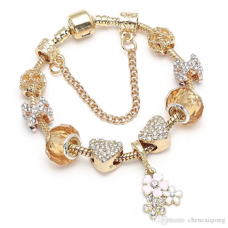 Encantos de Moda de Nova pulseiras para Pandora europeus Amor Beads coração Queen Bee pingente pulseira para o presente de Natal da jóia DIY