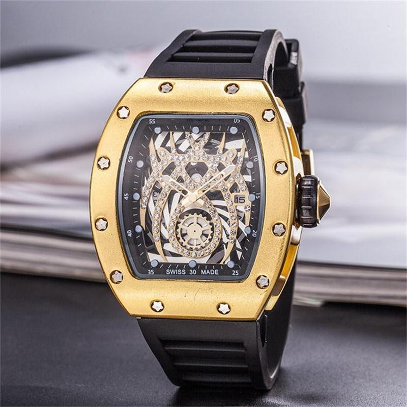 GO Luxury Watch dial inlaid drill Mens Quartz Watches Luxury Skull sport Watches Men Sports Fashion Skeleton quartz Watches Free Shipping