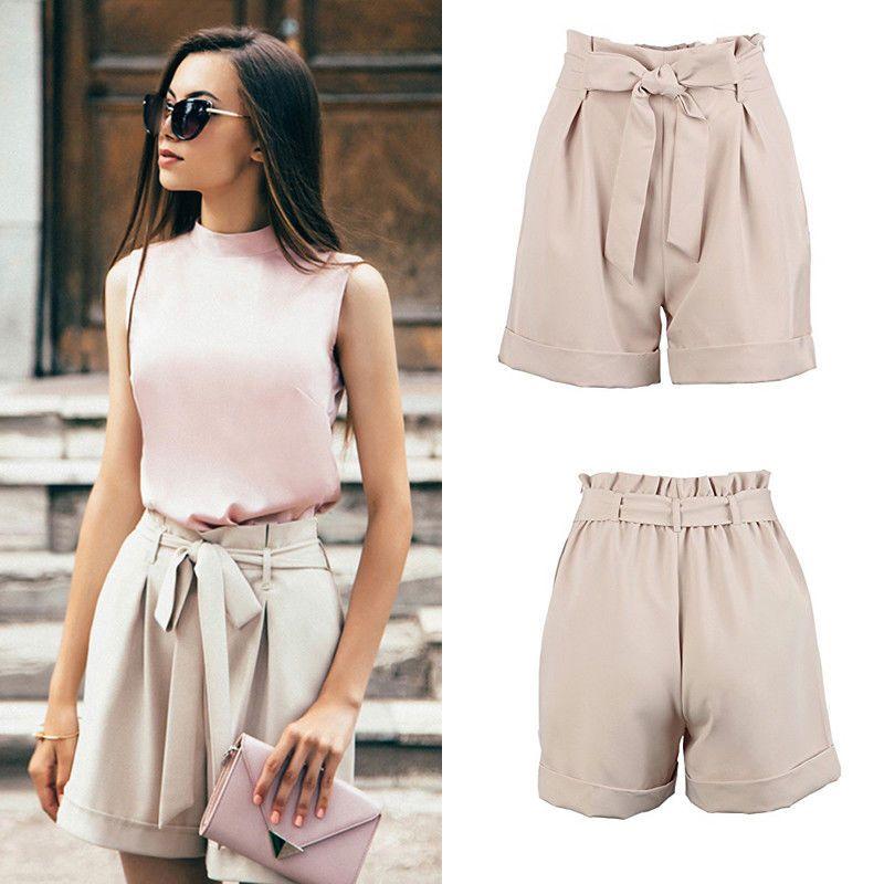 5c992ff847 2019 2018 New Women Hot Summer Casual Loose Shorts Bow Beach High Waist  Short Trousers Fashion Khaki Formal Drawsting Shorts From Zhonshan, &Price;    ...