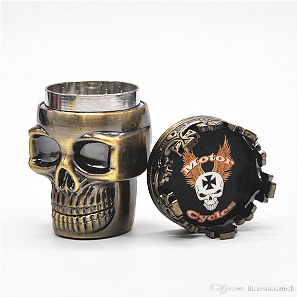 Good 2 layers Punk Ghost Head Skull style Metal Tobacco Grinder Herbal Herb Hand Muller Smoke Grinders Smoking Accessories For Gift