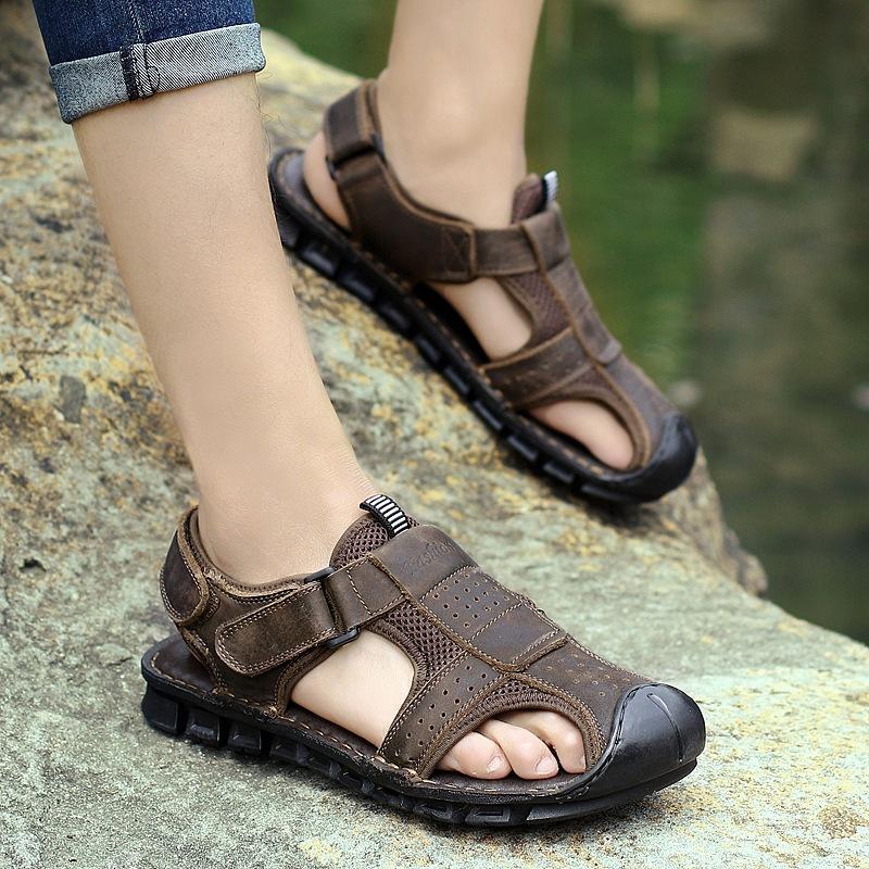 38-44 sandali del cuoio genuino uomini piatta gancio e anello di sandalo sandalo all'aperto sandali anti-collisione Z48