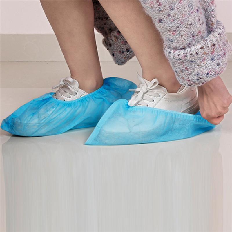 Shoe 100pcs descartáveis de plástico grosso Outdoor Rainy Day limpeza do tapete capa azul capas de sapatos à prova d'água Hot Sale Tampa U9