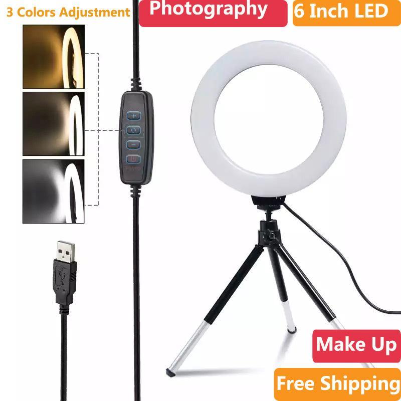 6inch Mini-LED-Desktop-Ringlicht stufenlose Dimmen mit Stativ-Standplatz USB-Stecker für YouTube Video Live Foto Fotografie Studio