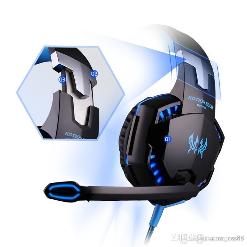 Vendita calda di G2000 Over-ear gioco cuffie Gaming Headset auricolare fascia con microfono stereo Bass luce del LED per PC del gioco trasporto veloce